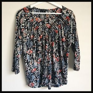 LUCKY BRAND | long sleeve pleated floral top